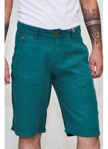 Superfly 20705 Men Lınen Short Green Yeşil
